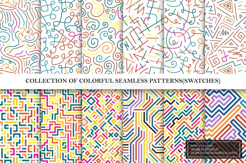 Collection of bright colorful seamless vector patterns - striped curve geometric design. stock illustration