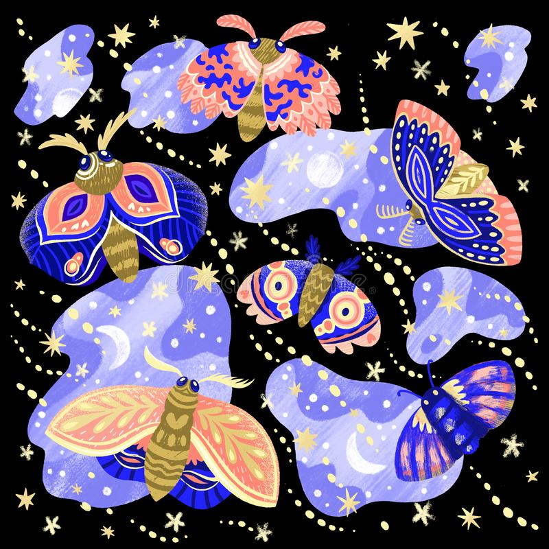 Collection of bright moths and butterflies in the night. Set of beautiful moths and butterflies in the night stock illustration