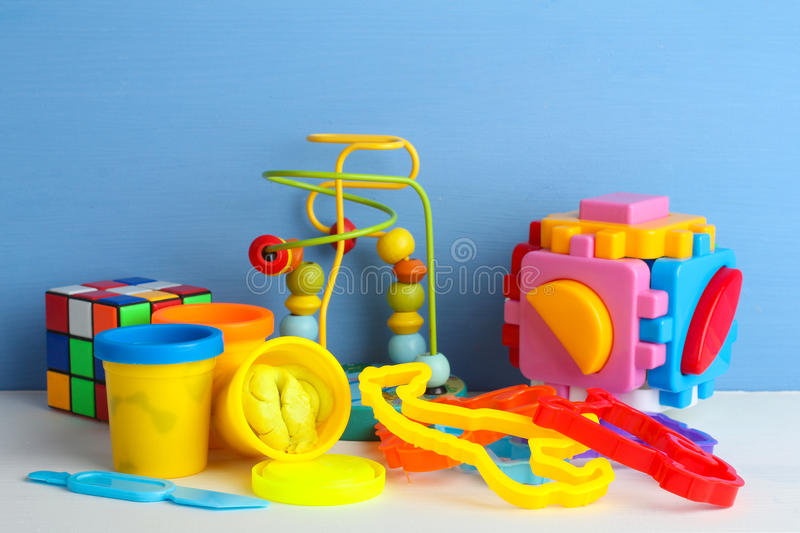 Collection of bright toys royalty free stock photo