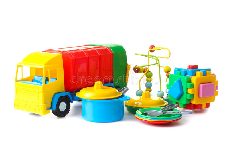 Collection of bright toys royalty free stock image