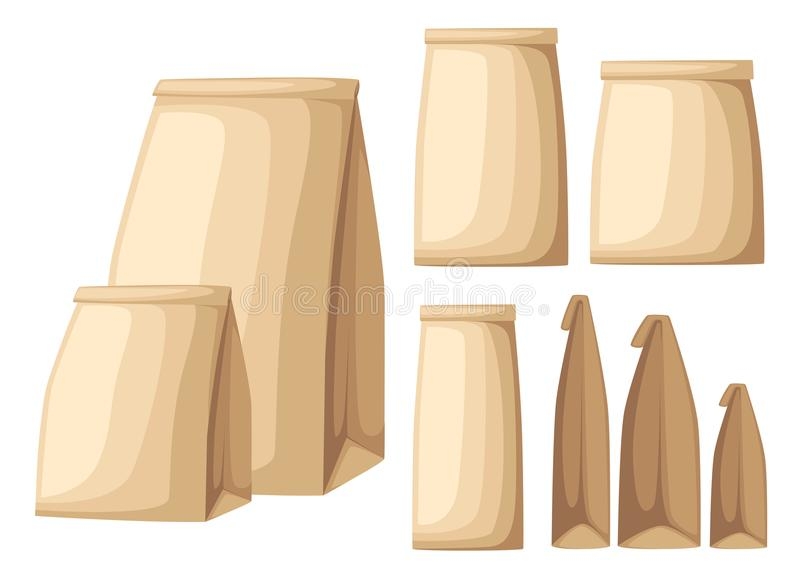 Collection of brown recycled eco paper bag side view and front view flat illustration on white background web site page and royalty free illustration