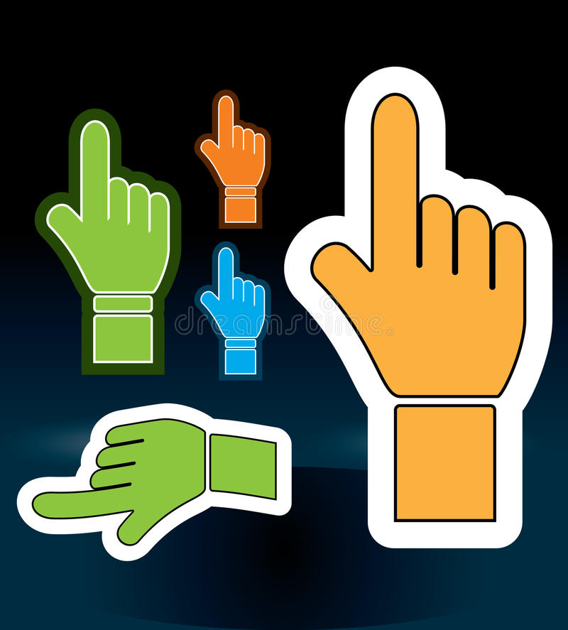 Collection Of Browsing Hand Cursors In Perspective Stock Images