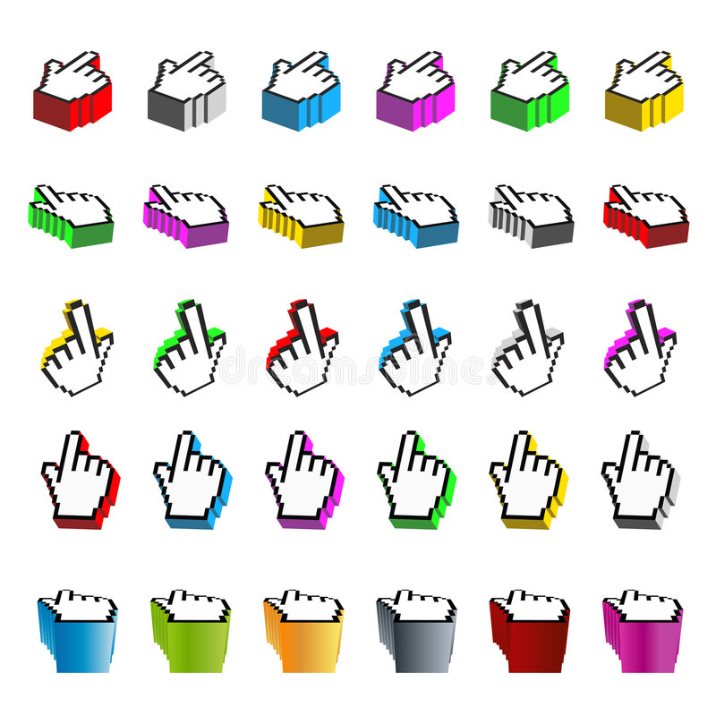 Download Collection Of Browsing Hand Cursors In Perspective Stock Vector - Illustration: 5374376