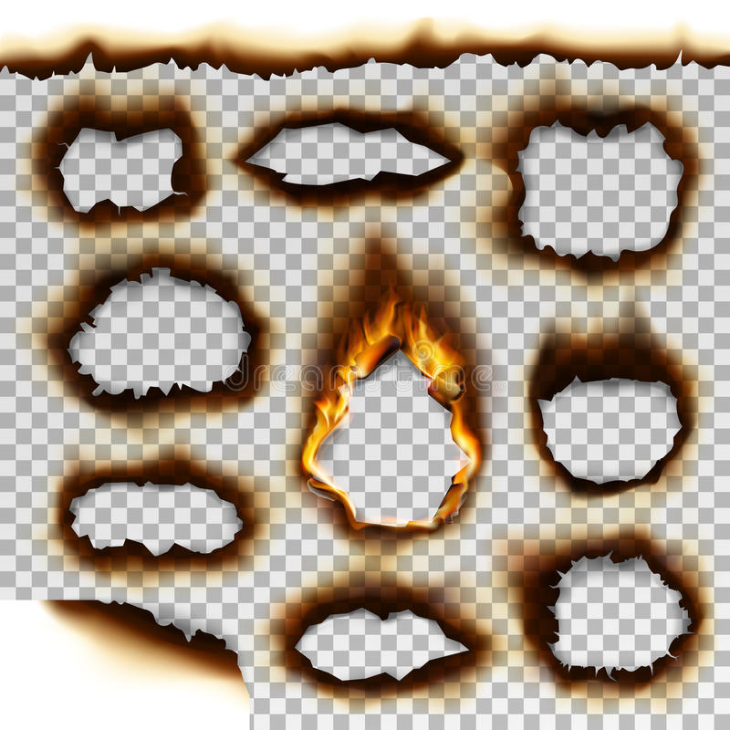 Collection of burnt faded holes piece burned paper realistic fire flame isolated page sheet torn ash vector illustration stock illustration