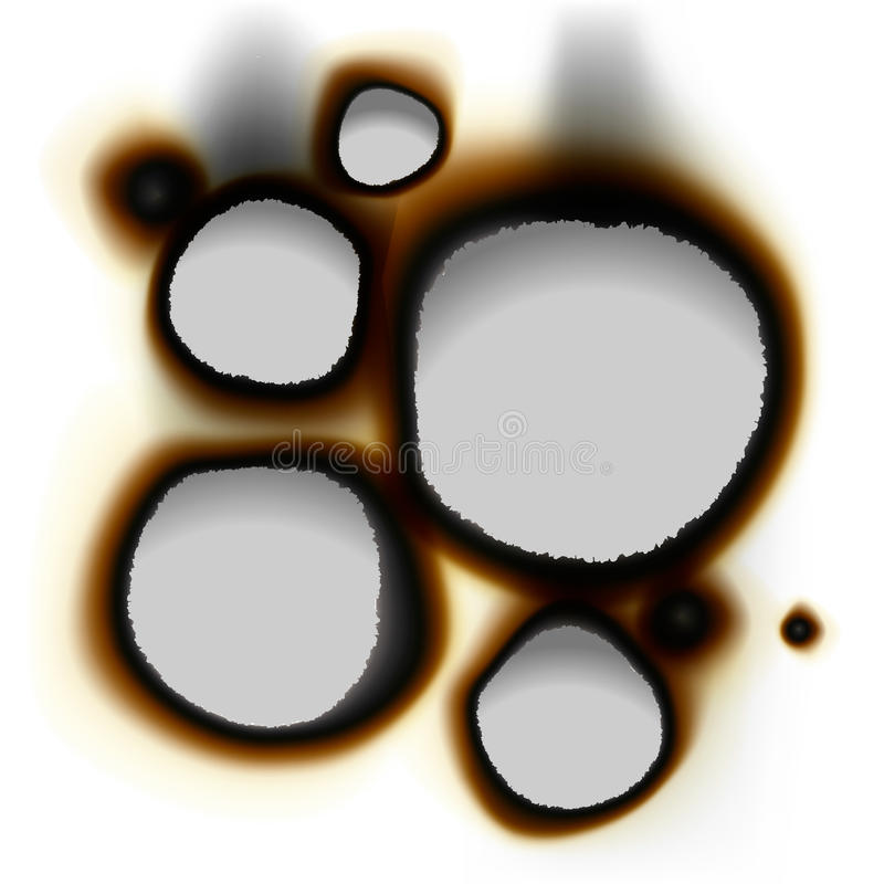 Collection of burnt holes in white paper vector illustration