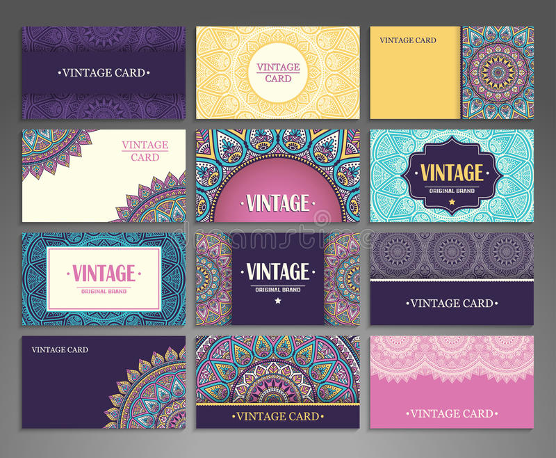 Collection Business card or invitation. Vector background. Vintage decorative elements. Hand drawn background vector illustration