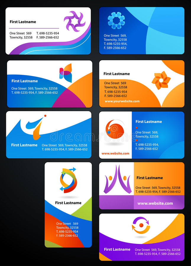 Collection of business cards. With abstract logos and icons