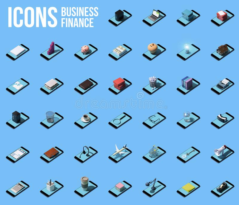 Collection of business and finance icons with smartphones vector illustration