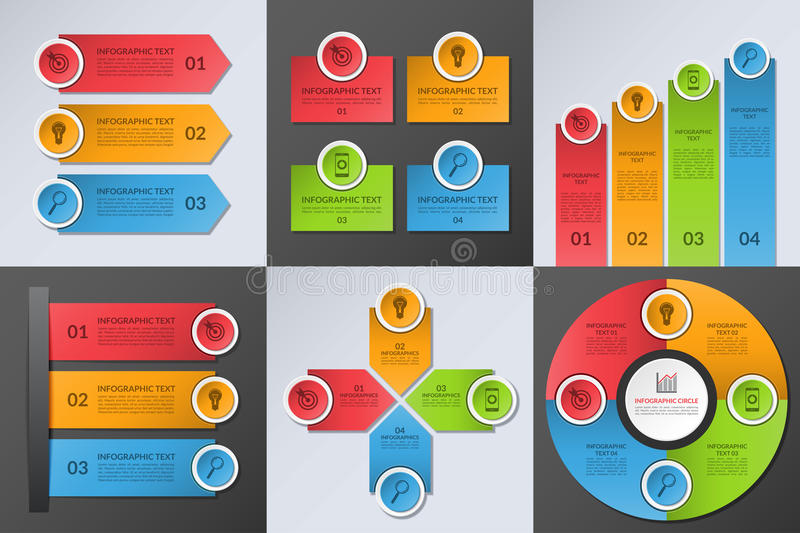 Collection of business infographic design elements stock illustration