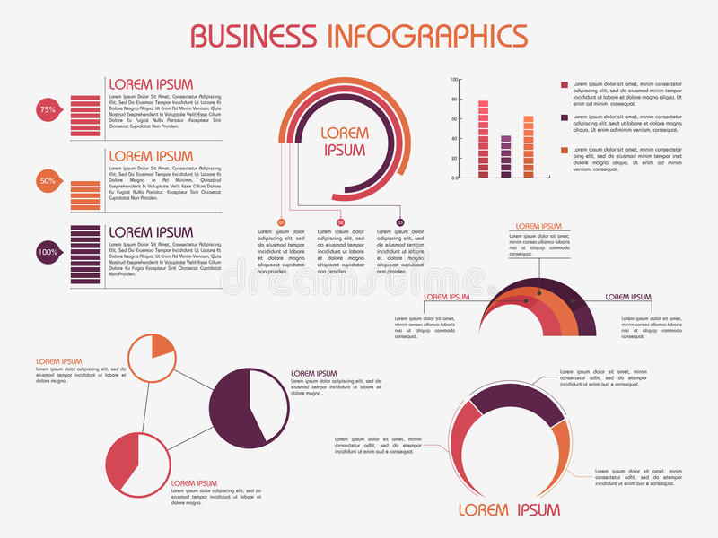 Collection of business infographics elements. Set of infographics elements for your business and corporate needs stock illustration