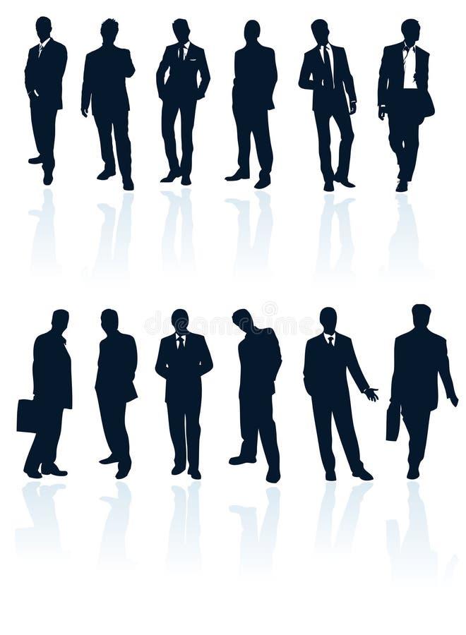 Silhouette businessman business man vector people suit person secret agent standing male men adult black office manager human tie stock illustration