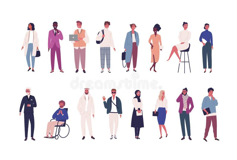 Collection of business people, entrepreneurs or male and female office workers of various ethnicity and age isolated on royalty free illustration