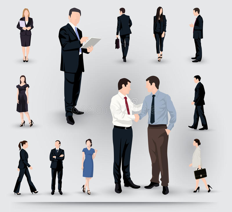 Collection of business people illustrations vector illustration