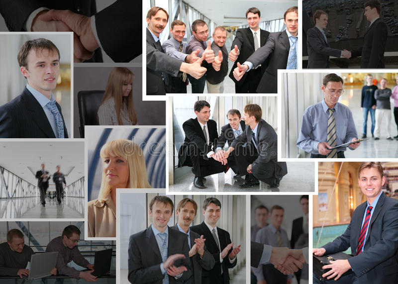 Collection of business photos with people, collage stock images