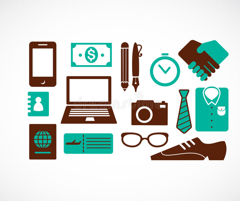 Collection Of Business Travel Icons Stock Image