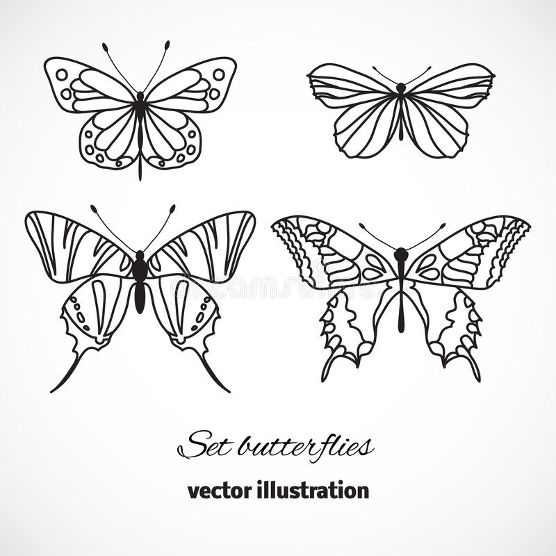 Collection of butterflies isolated on white background. Vector stock illustration