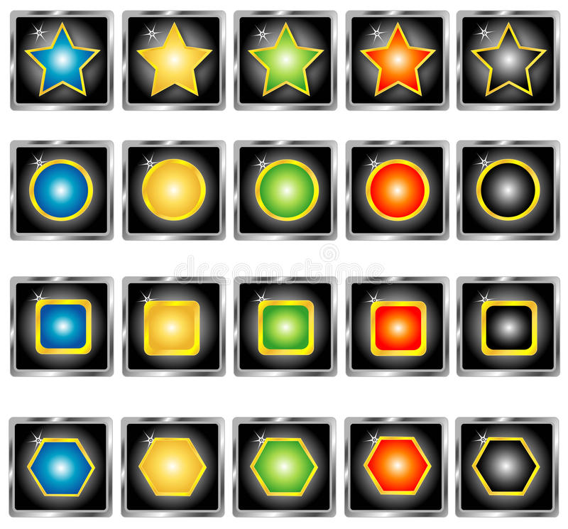 Collection Of Buttons, Vector Stock Photo