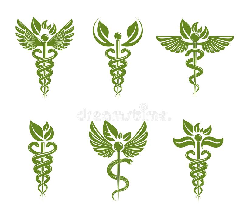 Collection of Caduceus illustrations composed with poisonous snakes and bird wings, healthcare conceptual vector symbols. Alternative medicine theme stock illustration