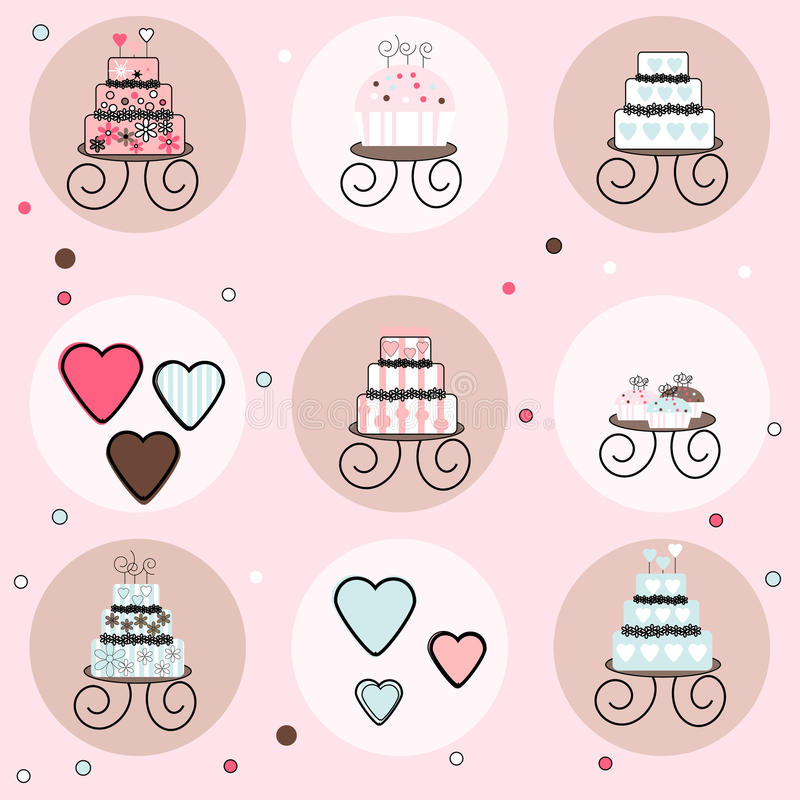 Collection of Cakes, Cupcakes and Candy Hearts stock illustration