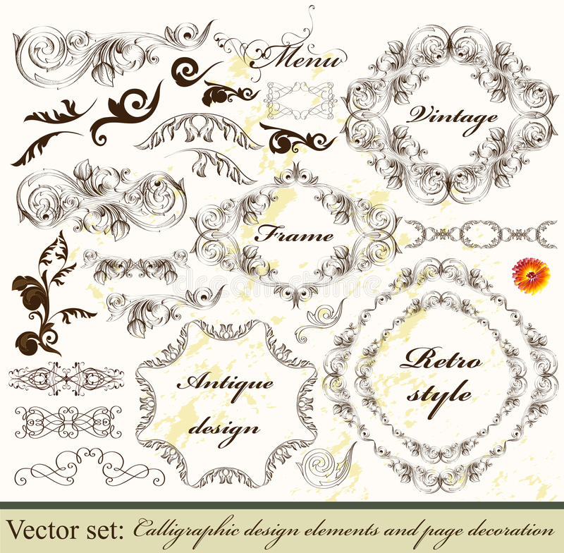 Collection of calligraphic decorative vector royalty free illustration