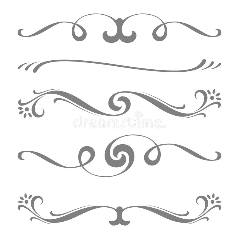 Collection of calligraphic lines ornaments or dividers . Retro style royalty free illustration