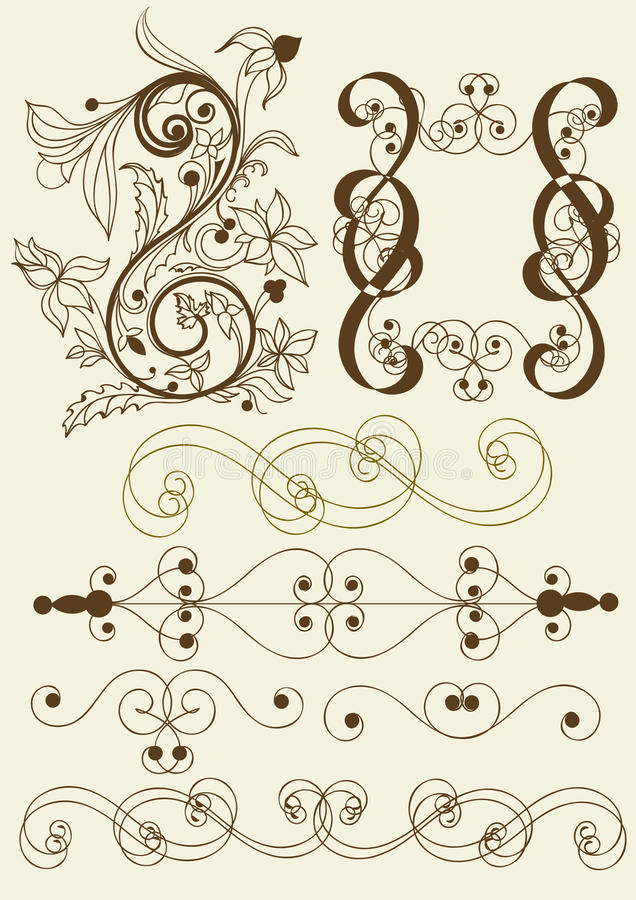 Collection of calligraphic vector elements stock illustration