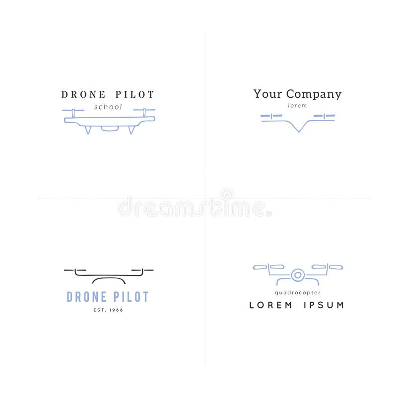 Collection of camera drones. Hand drawn vector logo templates. Aerial photography. vector illustration