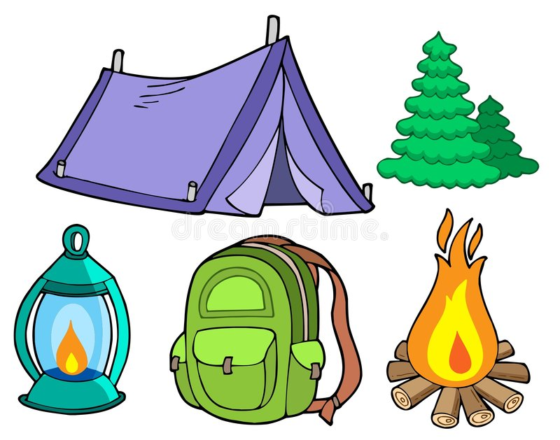 Collection of camping images vector illustration