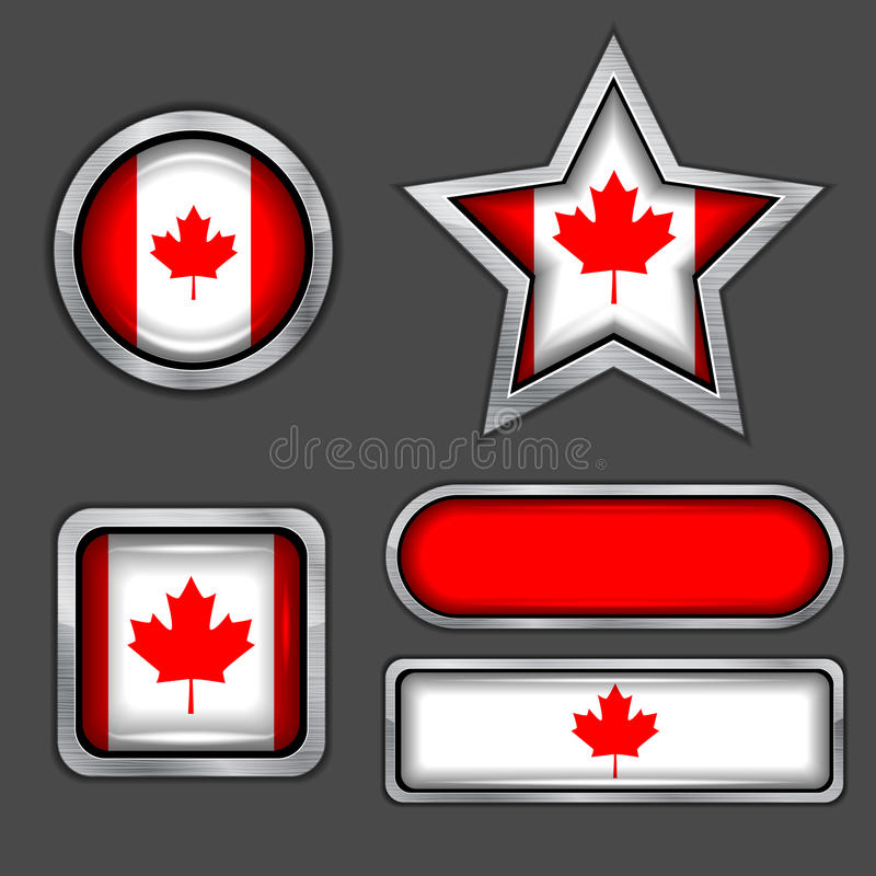 Collection Of Canadian Flag Icons Stock Photography