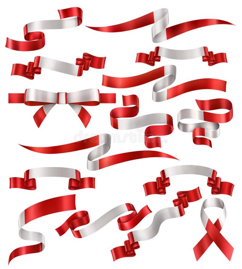 Collection of Canadian Ribbons. Set of Canadian flag ribbons, vector collection of decorative elements and banners, decoration for Canadian holidays . EPS 10 stock illustration