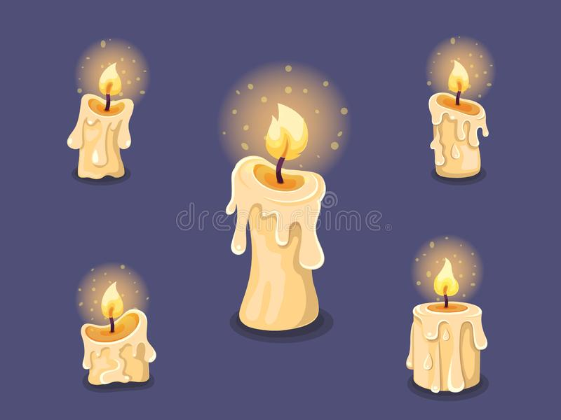 Collection of candles. Concept cartoon candle burning in different. Halloween elements set. Vector clipart illustration isolated vector illustration