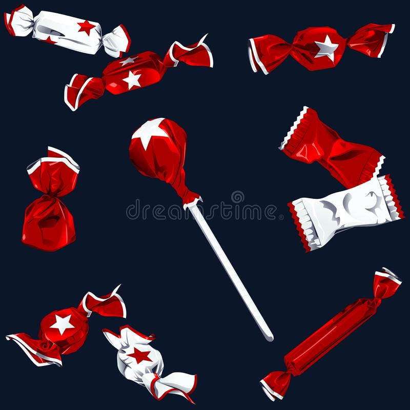 Collection of candy in shiny wrappers. Set of different kinds of candy in white and red wrappers with a star. Graphics are grouped and in several layers for easy vector illustration