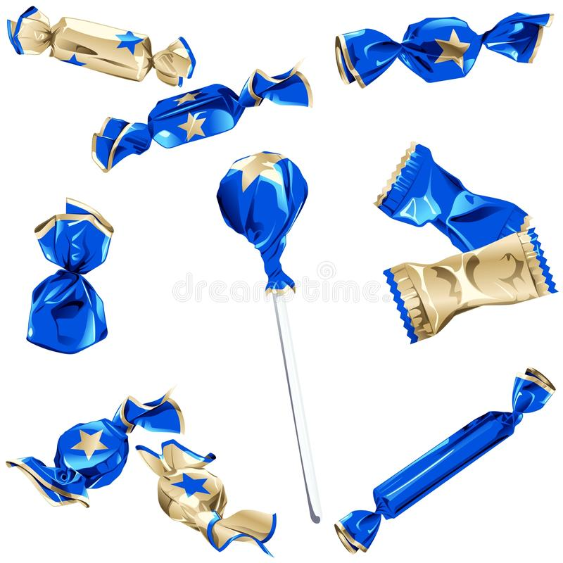 Collection of candy in shiny wrappers. Set of different kinds of candy in blue and gold wrappers with a star. Graphics are grouped and in several layers for easy stock illustration
