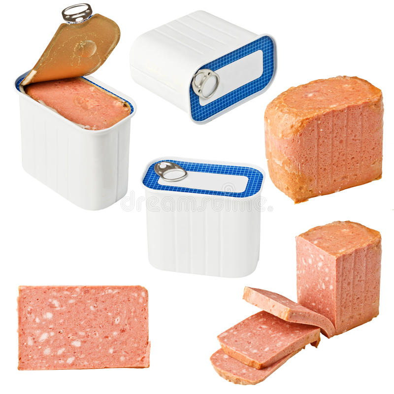 Collection of canned meat royalty free stock image