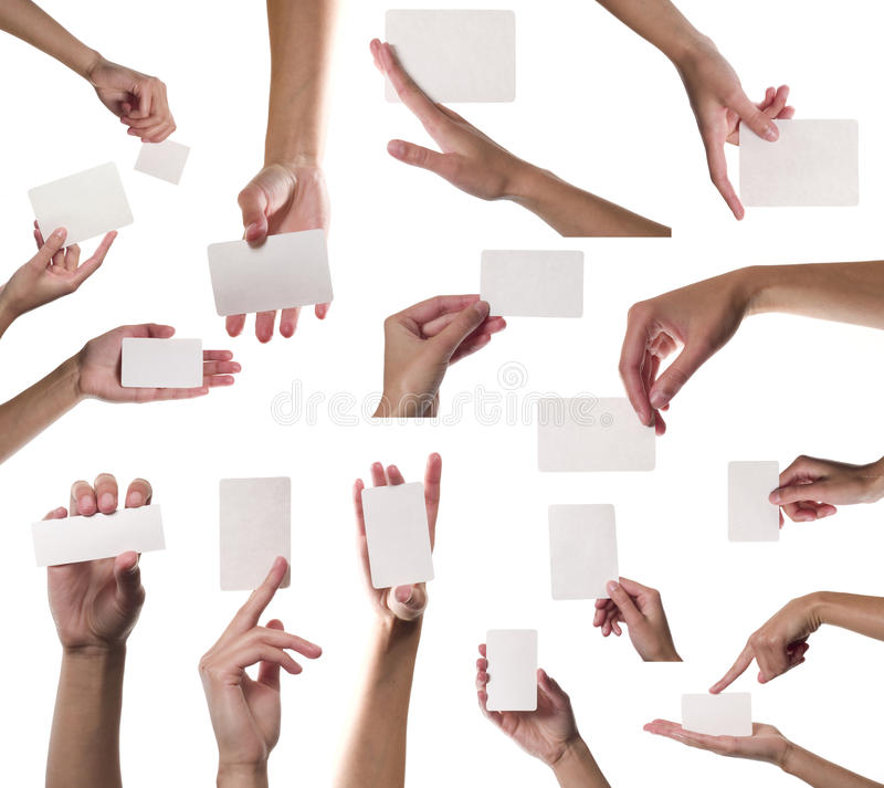 Download Collection Of Card Blanks In A Hand On White Backg Stock Photo - Image of paper, give: 16439448