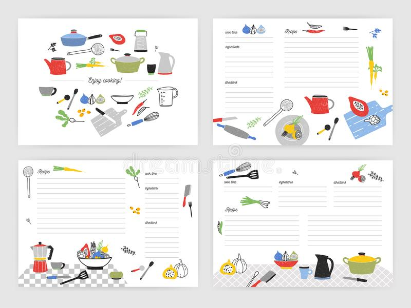 Collection of card templates for making notes about preparation of food. Blank recipe book or cookbook pages decorated. With colorful kitchen utensils and royalty free illustration