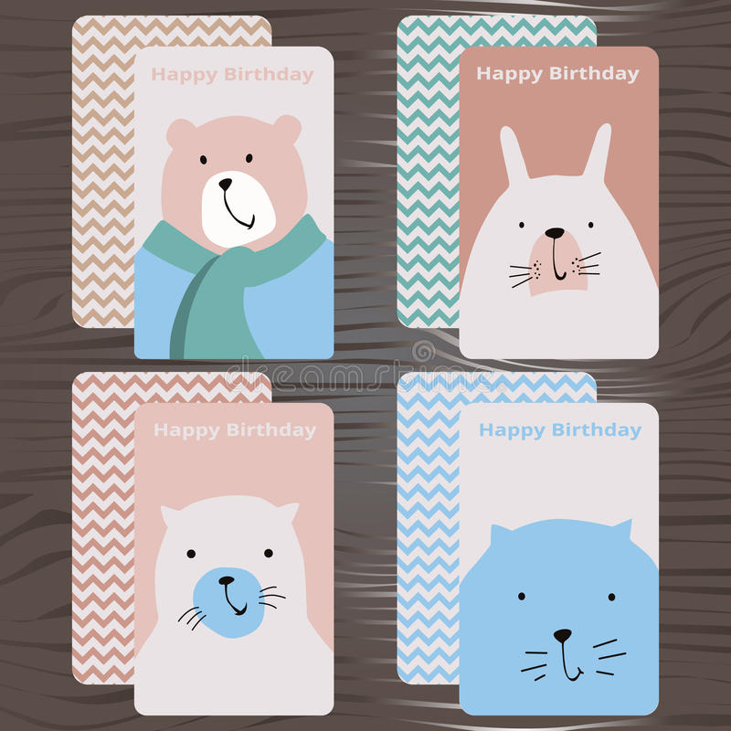 Collection cards, happy birthday. Vector illustration stock illustration
