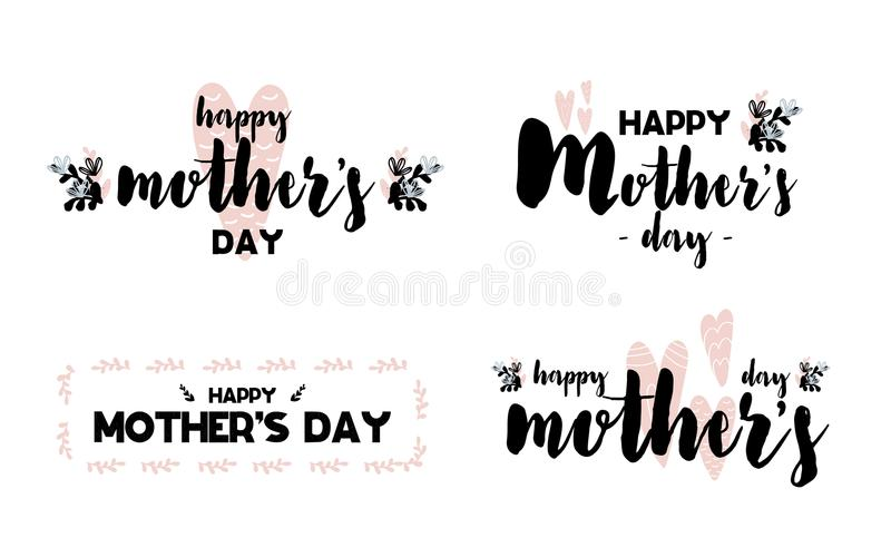 Collection Cards with lettering happy mothers day. Vector illustration in scandinavian style with decorative framing isolated on w vector illustration
