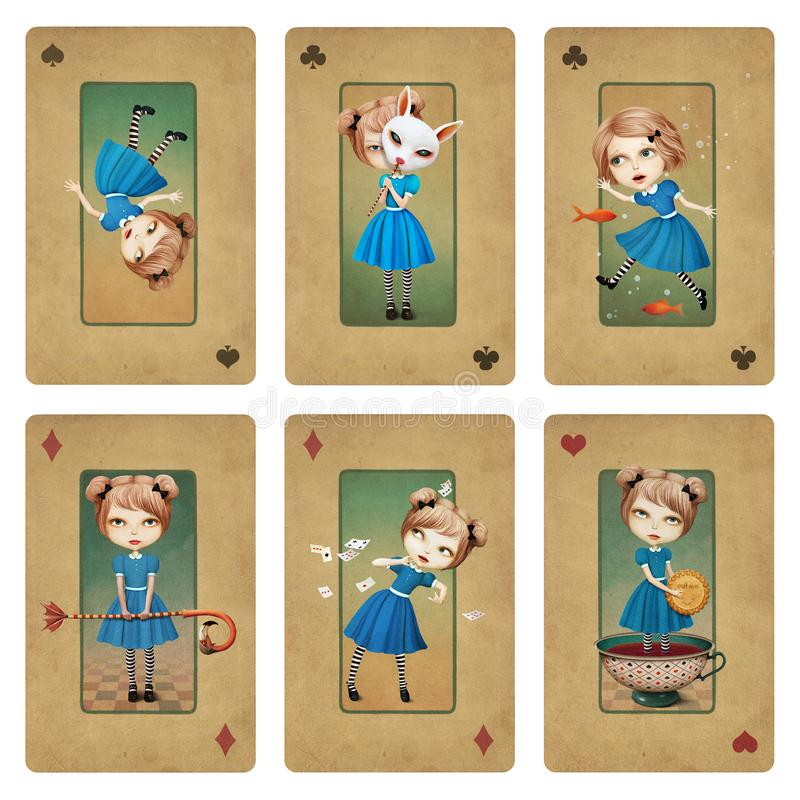 Collection cards Wonderland stock illustration