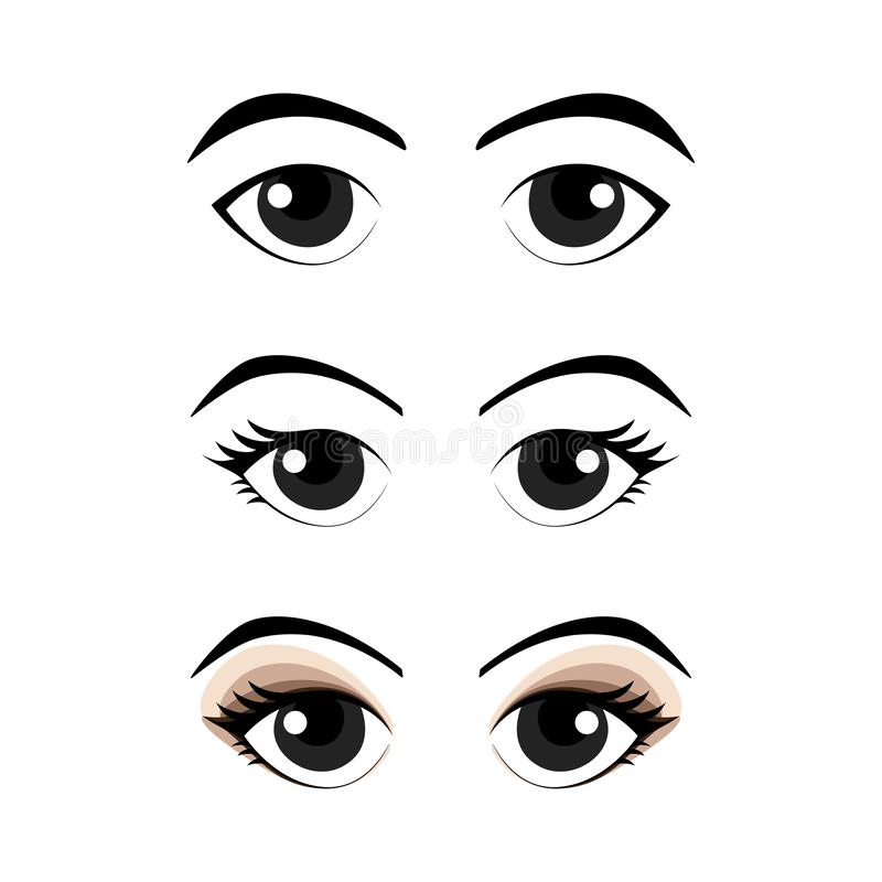 Collection of cartoon eyes with eye liner and nude color eye shadow. vector illustration