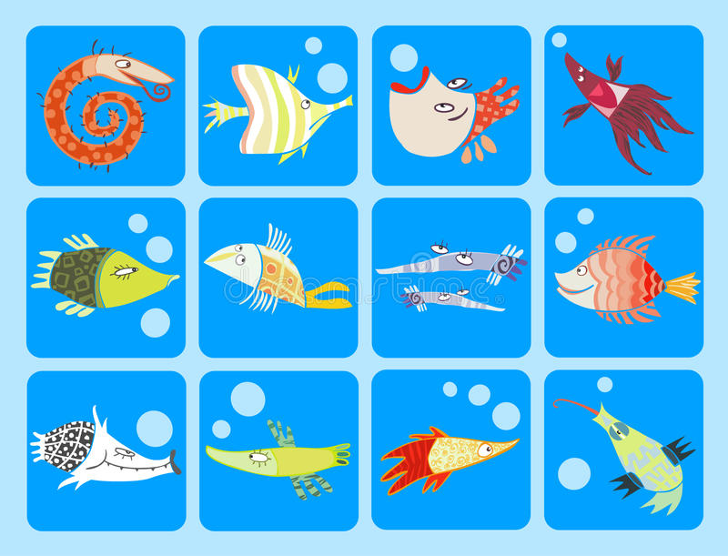 Download Collection of cartoon fish stock vector. Image of aquarium - 16278792