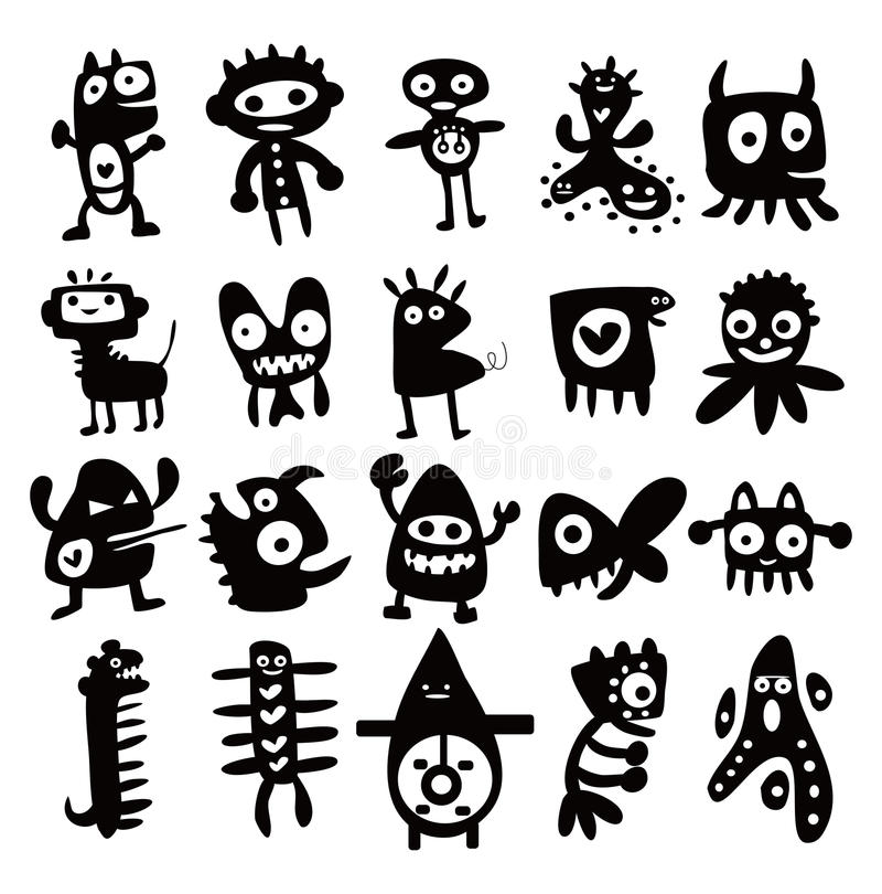 Download Collection Of Cartoon Funny Monsters Silhouettes Royalty Free Stock Photography - Image: 22031397