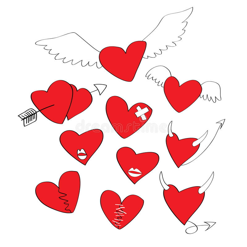 Collection of cartoon hearts vector illustration