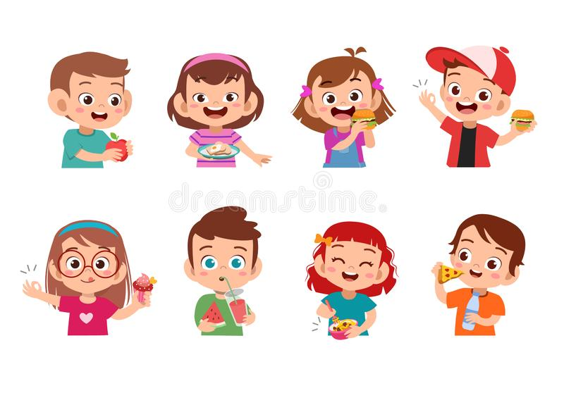 Collection of cartoon little boy eating fast food. Set, hamburger, child, illustration, isolated, young, vector, hotdog, breakfast, dinner, fastfood, candy royalty free illustration