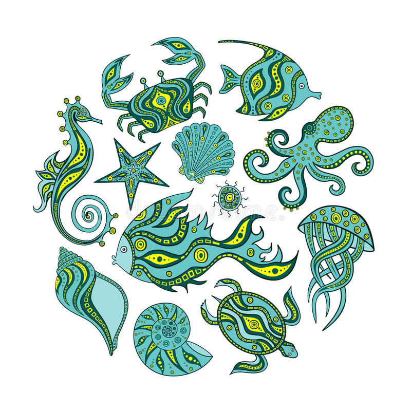 Collection of cartoon marine life. vector illustration