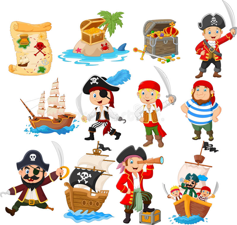 Collection of cartoon pirate royalty free illustration