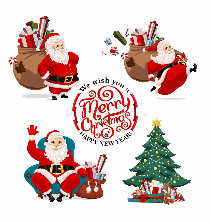 Collection of cartoon Santa Claus royalty free stock images