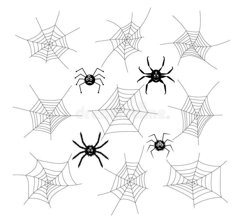 Collection of cartoon spiders and webs. vector. Collection of cartoon spiders and webs isolated on white background. spider phobia symbols. vector vector illustration
