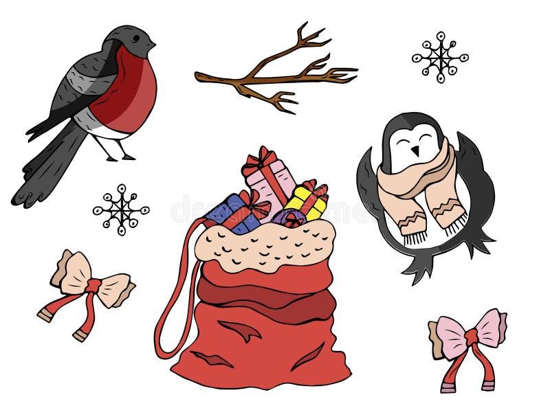 Collection of cartoon winter symbols. Vector illustration vector illustration