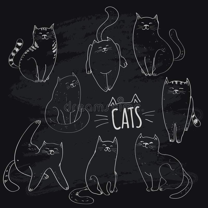 Collection of cats. Set of hand drawn graphic illustrations vector illustration